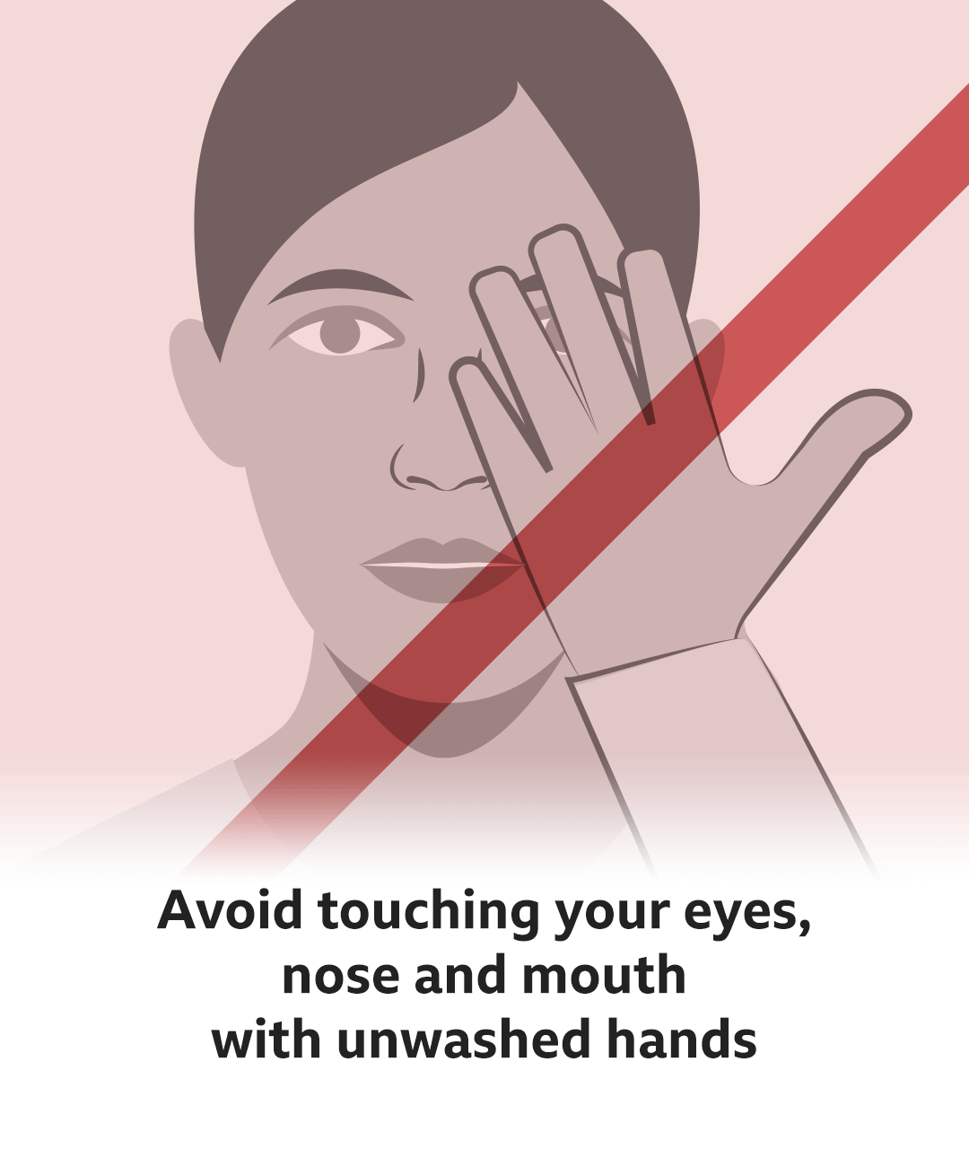 Avoid touching your eyes, mouth and nose with unwashed hands